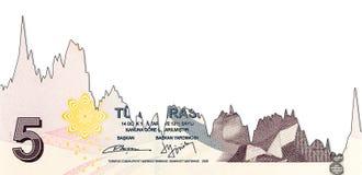 Abnahmediagramm der Banknote der türkischen Lira 5 entsprechendes lizenzfreie stockfotos