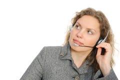 Abnehmer-Repräsentant mit Kopfhörer Lizenzfreie Stockfotos