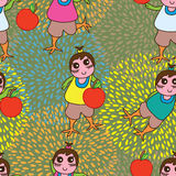 Abnormal girl apple seamless pattern Stock Image