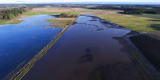 Farmland under water after a month of abnormally rainfall, Aerial view Stock Photos
