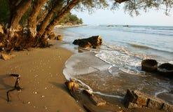 Abnutzung, Welle zerstören Uferdamm, Effekt des Klimawandels stockfoto