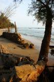 Abnutzung, Welle zerstören Uferdamm, Effekt des Klimawandels lizenzfreie stockfotografie