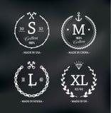Abnutzungs-Größen-Embleme Stockbilder