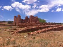 Abo mission ruins. High blue sky over pueblo mission ruins of Salinas Pueblo Missions National Monument at Abo, New Mexico Stock Image