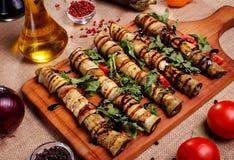 Abobrinha e beringela enchidos fritados rústicos Imagens de Stock