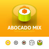 Abocado mix icon in different style. Abocado mix color icon, vector symbol in flat, outline and isometric style isolated on blur background royalty free illustration