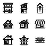 Abode icons set, simple style. Abode icons set. Simple set of 9 abode vector icons for web isolated on white background royalty free illustration