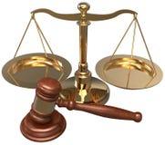 Abogado legal de la justicia del abogado del mazo de la escala Fotos de archivo libres de regalías
