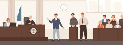 Abogado o abogado pronunciar discurso en sala de tribunal delante del juez y del jurado Defensa legal, vista pública y criminal libre illustration