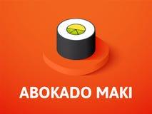 Abokado maki isometric icon, isolated on color background. Abokado maki icon, vector symbol in flat isometric style isolated on color background Royalty Free Stock Images