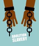 Abolição da escravidão Escravo preto das mãos com correntes quebradas shat Fotos de Stock