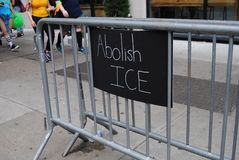 Abolish ICE, U.S. Immigration and Customs Enforcement. Someone left this sign that says, `Abolish ICE` during the NYC Pride March. This photo was taken in New stock photo