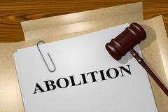 Abolition - legal concept. 3D illustration of ABOLITION title on legal document Stock Photo