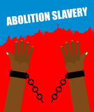Abolition of slavery. Arm slave with broken shackles. Royalty Free Stock Images