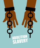Abolition of slavery. Hands black slave with broken chains. Shat Stock Photos