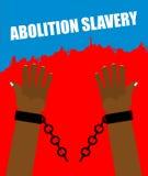 Abolizione di schiavitù Schiavo del braccio con i dispositivi d'ancoraggio rotti Immagini Stock Libere da Diritti