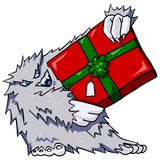 Abominable. Cartoon of abominable snowman holding a present Vector Illustration
