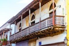 Abonded kolonial byggnad i Cartagena - Colombia Arkivfoto