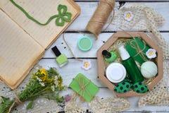 Abone la composición de la menta con cal de los productos del threatment de la belleza en colores verdes en el fondo blanco: jabó Foto de archivo