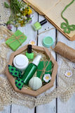 Abone la composición de la menta con cal de los productos del threatment de la belleza en colores verdes en el fondo blanco: jabó Imagenes de archivo