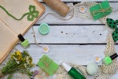 Abone la composición de la menta con cal de los productos del threatment de la belleza en colores verdes en el fondo blanco: jabó Imagen de archivo