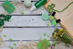 Abone la composición de la menta con cal de los productos del threatment de la belleza en colores verdes en el fondo blanco: jabó Imagen de archivo libre de regalías