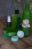 Abone la composición de la menta con cal de los productos del threatment de la belleza en colores verdes en fondo de madera marró Imagen de archivo libre de regalías