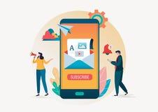 abonnemang Emailen prenumererar vektorillustrationen Folket använder mejlmarknadsföring i smartphonebakgrund plant tecknad filmte stock illustrationer