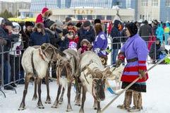 """Aborígene locais - Khanty, crianças do passeio em um trenó da rena de três cervos, trenó, inverno, """"Seeing fora do festival do  fotografia de stock royalty free"""