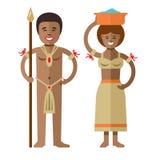 Aborígenes del africano del vector Ejemplo colorido de la historieta del estilo plano stock de ilustración