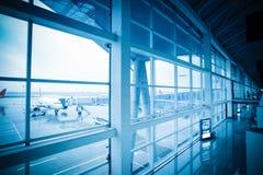 Abordaż i lotnisko na zewnątrz sceny Fotografia Stock