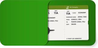 Abordaż przepustka wśrodku zielonej koperty ilustracji