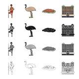 Aborigène australien, autruche d'émeu, Cliff Uluru rouge, palais du ` s de la Reine Victoria Icônes réglées de collection d'Austr Image stock