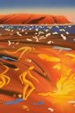 aboriginal abstrakt målning Arkivbilder