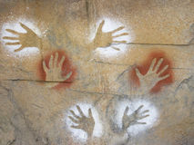 Aboriginal art. Aboriginal style hand cave painting Stock Photos