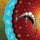 Aboriginal art background with kangaroo.Based on aboriginal style of vector painting. Aboriginal art background with kangaroo. Illustration based on aboriginal royalty free illustration