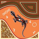 Aboriginal art background with lizard. Illustration based on aboriginal style of dot painting Stock Image