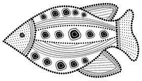 Aboriginal art fish illustration. Aboriginal fish. Illustration based on aboriginal style of dot painting Stock Images