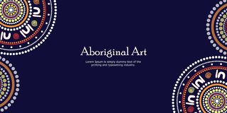 Aboriginal art vector banner with text. Aboriginal art landscapes vector banner background stock illustration