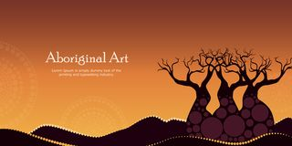 Aboriginal art landscapes vector banner background. Mountain with tree. Nature concept Vector Illustration