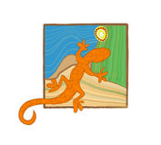 Aboriginal art lizard. In natural illustration stock illustration