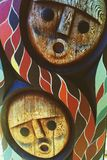 Aboriginal art. This piece of aboriginal art is masterfully carved into a totem pole Stock Photo