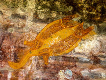 Aboriginal Art. Turtle, Nourlangie Rock, Kakadu, NT Australia royalty free stock images