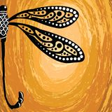 Aboriginal art vector background with dragonfly. Illustration Royalty Free Illustration