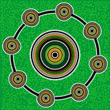 Aboriginal art vector background. Green. Australia Aboriginal art vector background with dots. Green royalty free illustration