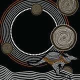 Aboriginal art vector background. Illustration based on aboriginal style of dot painting Vector Illustration