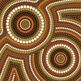 Aboriginal art vector background. Illustration based on aboriginal style of dot painting royalty free illustration
