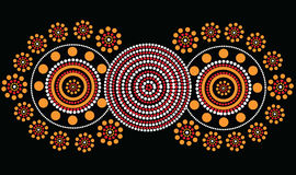 Aboriginal art vector background. Illustration based on aboriginal style of dot painting Stock Image