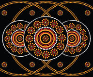 Aboriginal art vector background. Illustration based on aboriginal style of dot painting Royalty Free Stock Photos