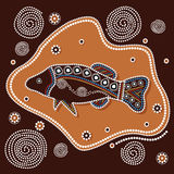 Aboriginal art vector background. Illustration based on aboriginal style of painting with fish Stock Photos